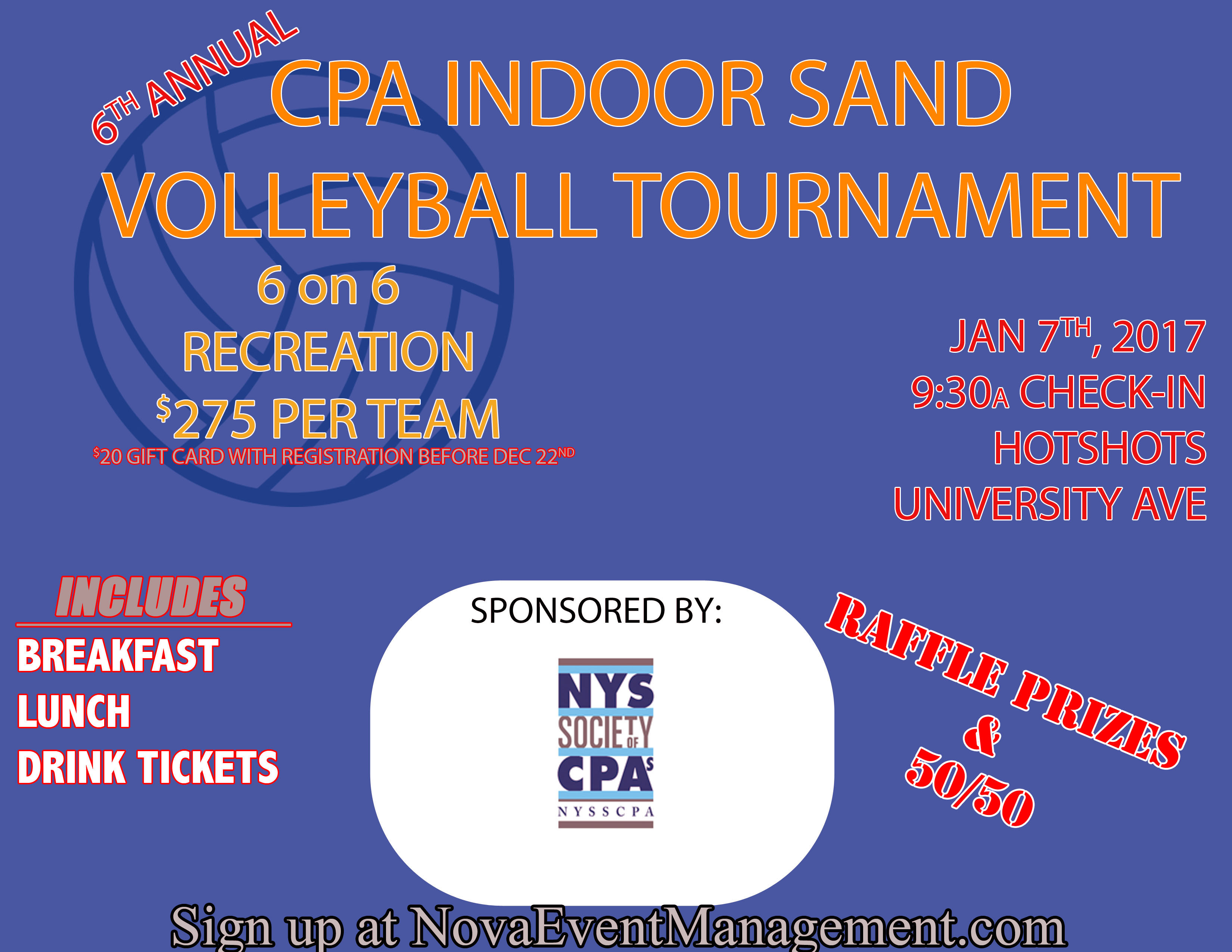Rochester Chapter S 6th Annual Indoor Sand Volleyball Tournament