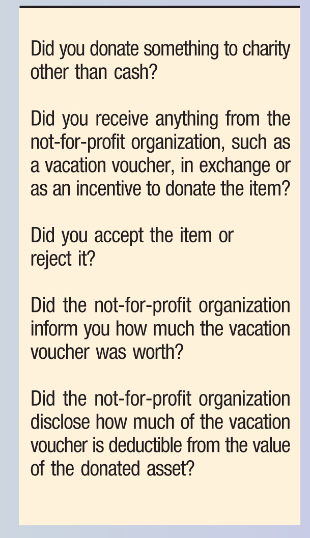 Did you donate something to charity other than cash? Did you receive anything from the not-for-profit organization, such as a vacation voucher, in exchange or as an incentive to donate the item? Did you accept the item or reject it? Did the not-for-profit organization inform you how much the vacation voucher was worth? Did the not-for-profit organization disclose how much of the vacation voucher is deductible from the value of the donated asset?