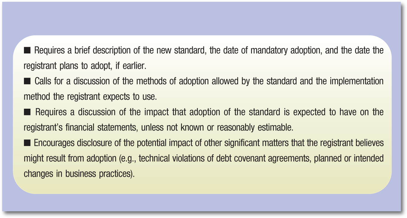 ▪ Requires a brief description of the new standard, the date of mandatory adoption, and the date the registrant plans to adopt, if earlier. ▪ Calls for a discussion of the methods of adoption allowed by the standard and the implementation method the registrant expects to use. ▪ Requires a discussion of the impact that adoption of the standard is expected to have on the registrant's financial statements, unless not known or reasonably estimable. ▪ Encourages disclosure of the potential impact of other significant matters that the registrant believes might result from adoption (e.g., technical violations of debt covenant agreements, planned or intended changes in business practices).
