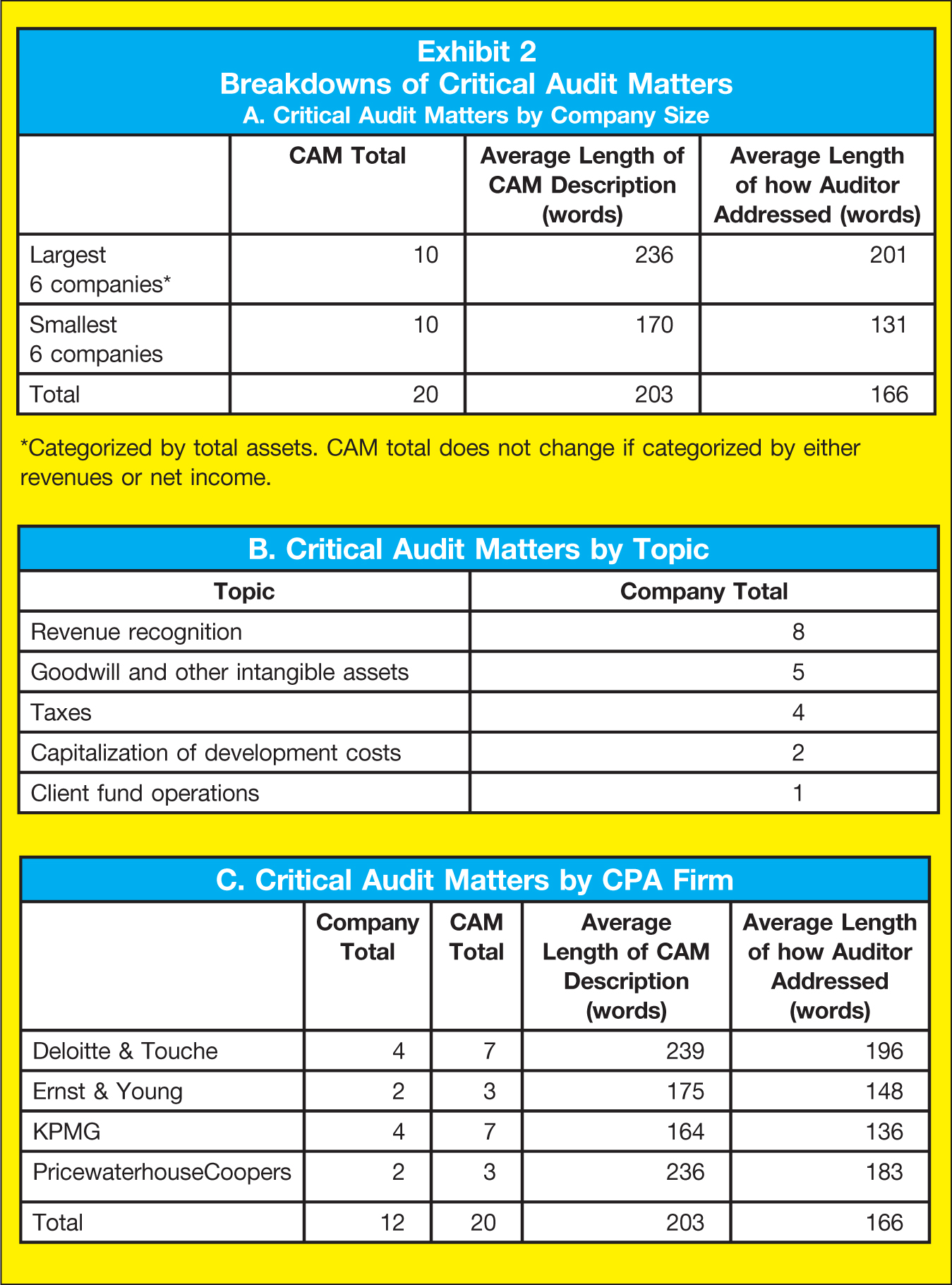 A. Critical Audit Matters by Company Size CAM Total; Average Length of CAM Description (words); Average Length of how Auditor Addressed (words) Largest 6 companies*; 10; 236; 201 Smallest 6 companies; 10; 170; 131 Total; 20; 203; 166 *Categorized by total assets. CAM total does not change if categorized by either revenues or net income. B. Critical Audit Matters by Topic Topic; Company Total Revenue recognition; 8 Goodwill and other intangible assets; 5 Taxes; 4 Capitalization of development costs; 2 Client fund operations; 1 C. Critical Audit Matters by CPA Firm Company Total; CAM Total; Average Length of CAM Description (words); Average Length of how Auditor Addressed (words) Deloitte & Touche; 4; 7; 239; 196 Ernst & Young; 2; 3; 175; 148 KPMG; 4; 7; 164; 136 PricewaterhouseCoopers; 2; 3; 236; 183 Total; 12; 20; 203; 166