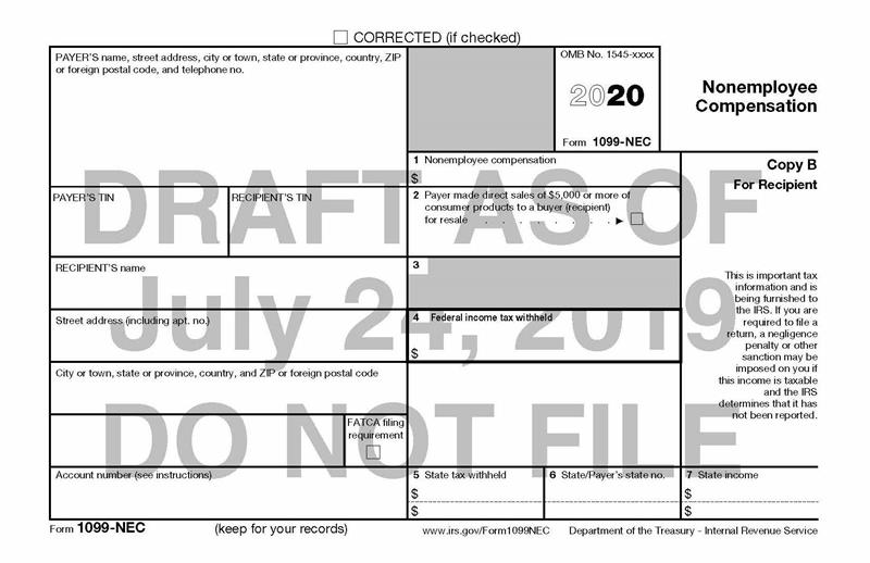 Irs Tax Calendar 2020.The Irs Resurrects Form 1099 Nec After A 38 Year Absence